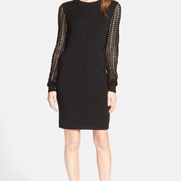 Women's See by Chloe Lace Sleeve Merino Wool Dress,