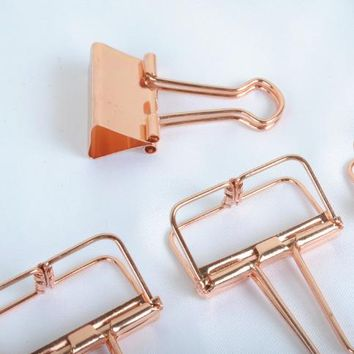5Pcs/Lot Solid Color Rose Gold Metal Binder Clips