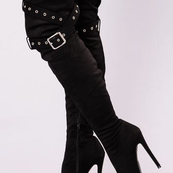 Alexia Over The Knee Boot - Black