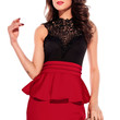 Red Sleeveless Hollow-out Back Peplum Dress with Embroidered Lace High Neck