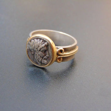 Sterling silver and 18k gold mens ring- Ancient coin replica ring- Man statement ring-Silver sgnet ring-Artisan jewelry-Greek art