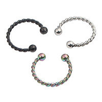 Ruifan 3pcs 10mm 16G CBR Horseshoe Circular Rings Mix Color 316L Surgical Steel for Lip, Septum Piercing Jewelry & Cartilage 2.5mm Ball