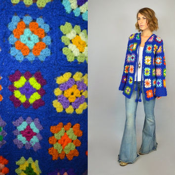 vtg 70s hand crochet GRANNY SQUARES hippie boho retro CARDIGAN sweater, extra small-medium