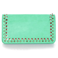 Edge of Glory Studded Sea Green Clutch