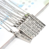Hot BTS Members Name Date Cuboid Bar Pendant Necklace Fashion Jewelry Silver Titanium Chain Necklaces & Pendants for Fans