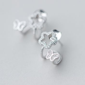 925 Sterling Silver elegant flower earrings,silver tiny butterfly earrings with gift box