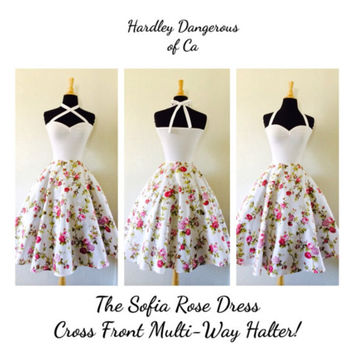 White Rose ROCKABILLY Swing Dress, Cross Front Halter 1950s Style, Casual Wedding, Pink Floral Print Pinup Party Dress