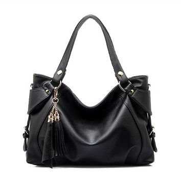 Women PU Leather Hobo Tassel Tote Handbag