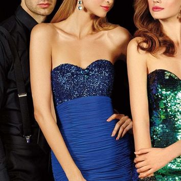 Alyce Paris - Empire Waist Strapless Sequin Sweetheart Homecoming Dress 4385