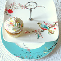 Square Lenox Chirp Plates in Lovebirds White & by highteaforalice