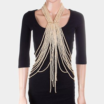 Draped Pearl Dramatic Fringe Neck Top Body Chain Necklace