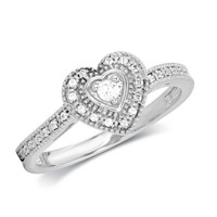 1/8 CT. T.W. Diamond Vintage-Style Heart Promise Ring in 10K White Gold