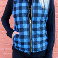 Anniston Acres Blue Checkered Puffer Vest