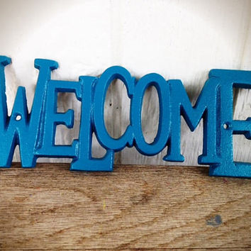 Lagoon Teal Blue Green Welcome Sign - Hand Painted - Funky Bright Retro Decor