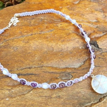 Kids Hemp Necklace, Adjustable, Opalite Pendant, Amethyst, Handmade Jewelry, Hemp Necklace, Gift for Daughter, Girls Jewelry, Handmade, Gift