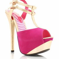 metallic accent heels $29.10 in BLACK BLUE FUCHSIA RED - Heels | GoJane.com