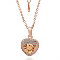 Yellow Gem in Heart Gold Plated Necklace
