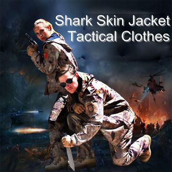 TAD Shark Skin Soft Shell Camo Jacket Hunting Clothes Shirt Or Pants Outdoor Sports Tactical Military Waterproof Hiking Clothing