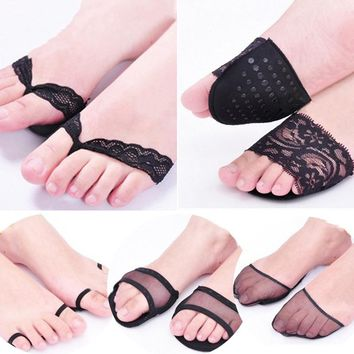 1 Pair Fashion Back  Skin Color Lace Women Forefoot  Insoles High Heels Slipper Invisible  Non Slip Half Yard Pad Shoe Insoles