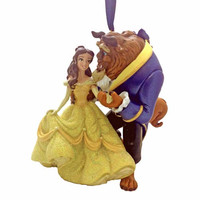 disney parks christmas belle and the beast glitter ornament new with tag