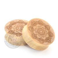 Floral Mandala Tattoo Flash Engraved Wood Plugs