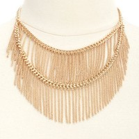 Two-Tiered Chain Fringe Collar Necklace