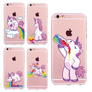 New Cute Unicorn Rainbow Case For iPhone 5 5s SE 6 6s 7 7Plus 6Plus Puke Unicorns Horse soft TPU Gel Fundas Cover Coque Capa