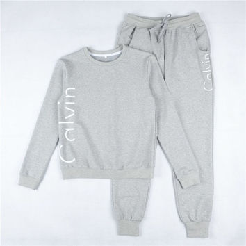"""Fashion """"Calvin Klein"""" Print Round neck Long-sleeves Pullover Tops Pants Two-Piece Set Black grey"""
