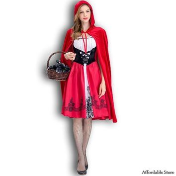 Cool New Little Red Riding Hood Costume Queen Dress Halloween Cosplay Uniform Adult Cosplay Costume partyAT_93_12