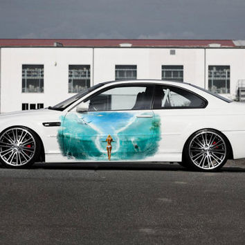 Full Color Car Auto Vinyl Decal Art Basen Water Girl Ocean Sea both sides (va2)