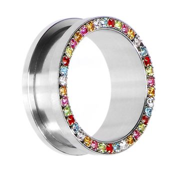26mm Stainless Steel Multi Gem Screw Fit Tunnel