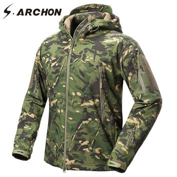 Trendy S.ARCHON New Soft Shell Military Camouflage Jackets Men Hooded Waterproof Tactical Fleece Jacket Winter Warm Army Outerwear Coat AT_94_13
