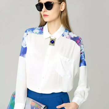 White Floral Blue Print Long-Sleeve Button Asymmetrical Collared Shirt