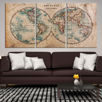 77279 - Large Wall Art World Map Canvas Print - Extra Large Old & Best Old World Map Poster Products on Wanelo