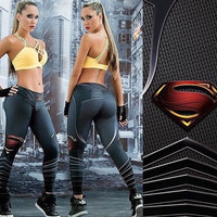 2016 New Fashion Sport Leggings Workout Leggings Gym Fitness Women Legging Superman Printed Joggings Pants [8802099532]