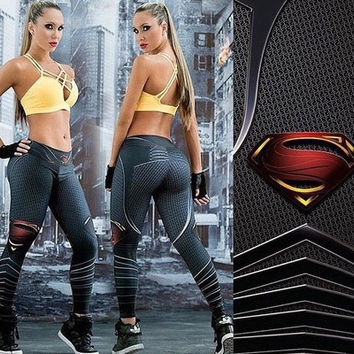 2016 New Fashion Sport Leggings Workout Leggings Gym Fitness Women Legging Superman Printed Joggings Pants [8833666380]
