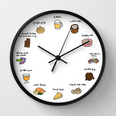 Foods of harry potter wall clock by tyler from society6 muggle