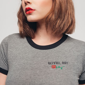 Embroidered IT'S ROCK N ROLL, BABY Ringer Tee