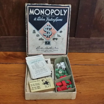 Vintage 1930s Parker Brothers Monopoly Game Box With Wooden Houses Deeds Community Chest Chance Cards
