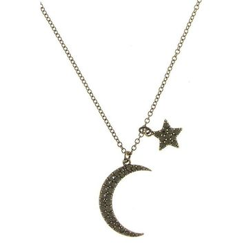 Rose Gold Crescent Moon Star Crystal Pendant Necklace