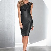 Faux Leather Lace Dress