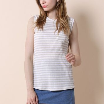 Casual Beige Stripes Knit Top