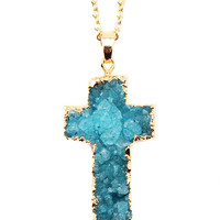 Blue Gold Plated Cross Druzy Necklace