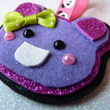Purple Cute Bear Pink Glitter Kawaii Hanging Charm Keychain Felt