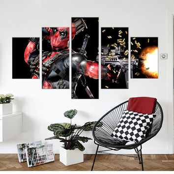 DeadPool Canvas Print Wall Art - 5 Pieces