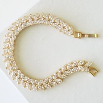 Marquise Cubic Zirconia Gold Setting Crystal Bridal Bracelet Art Deco Inspiration