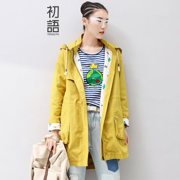 Toyouth 2016 Autumn Winter Women's Trench Coat Medium-Long Full Length Zipper Solid Outwear Hooded Wide-waisted Coats