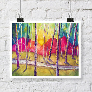 Birch Tree Watercolor Painting - watercolor print  landscape painting  birch tree painting  canvas art print tree watercolor  birch tree art