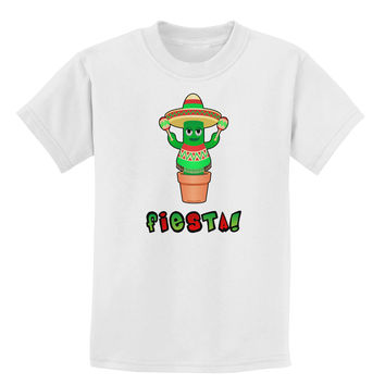 Fiesta Cactus Poncho Text Childrens T-Shirt
