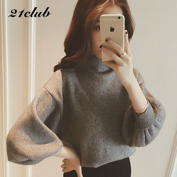 2017 autumn and winter thick fashion women clothing solid half turtleneck puff-sleeve cute self-cultivation wild ladies sweater